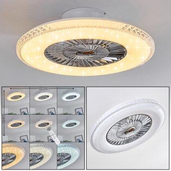 Ventilateur de plafond Piacenza LED Chrome, Blanc, 1 lumière, Télécommandes