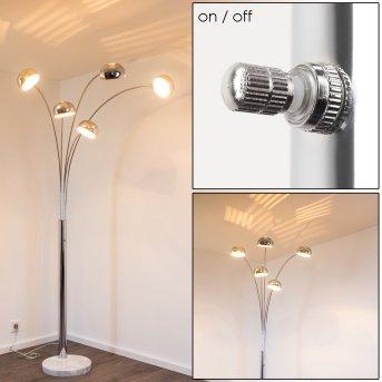 Lampadaire Nikkala Chrome, 5 lumières