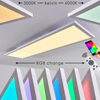 Plafonnier Salmi LED Blanc, 1 lumière, Télécommandes, Changeur de couleurs