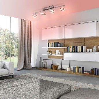 Plafonnier Leuchten-Direkt LOLAsmart-SABI LED Nickel mat, 4 lumières, Télécommandes, Changeur de couleurs