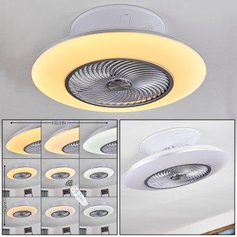 Ventilateur de plafond Nagoya LED Blanc, 1 lumière, Télécommandes