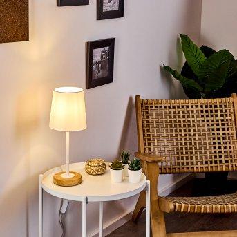 Lampe de table Leirado Blanc, Bois foncé, 1 lumière