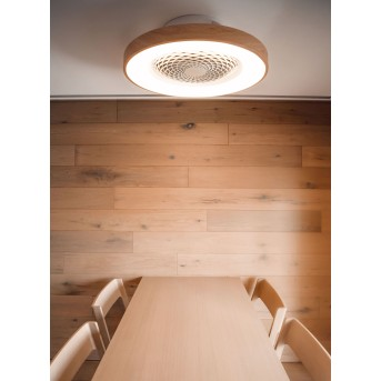 Ventilateur de plafond Mantra TIBET LED Blanc, Bois foncé, 1 lumière, Télécommandes