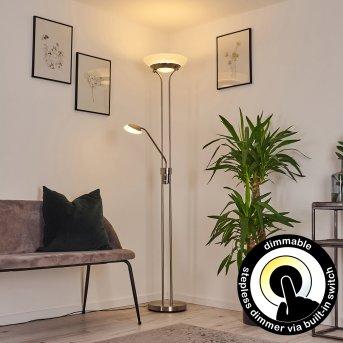 Lampadaire Mairoa LED Nickel mat, 2 lumières