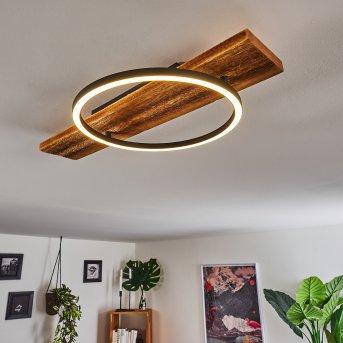 Plafonnier Pompu LED Noir, Bois foncé, 1 lumière