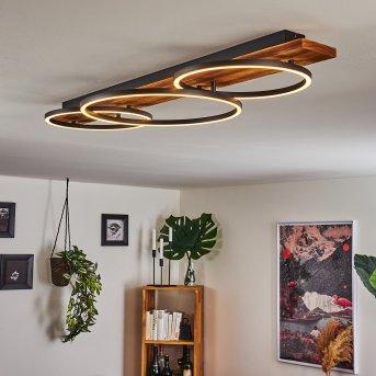 Plafonnier Pompu LED Noir, Bois foncé, 3 lumières