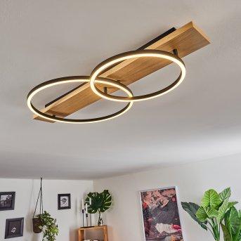 Plafonnier Pompu LED Noir, Bois clair, 2 lumières