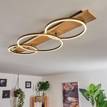 Plafonnier Pompu LED Noir, Bois clair, 3 lumières