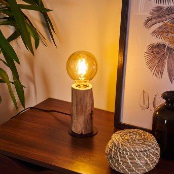 Lampe de table Pozos Noir, Bois clair, 1 lumière
