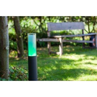 Borne lumineuse Lutec DROPA LED Anthracite, 1 lumière, Changeur de couleurs