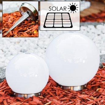 Set de boules lumineuses solaires LED Acier inoxydable, 2 lumières