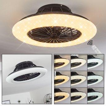 Ventilateur de plafond Piraeus LED Noir, 1 lumière, Télécommandes