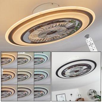 Ventilateur de plafond Terradura LED Chrome, Noir, Blanc, 1 lumière, Télécommandes