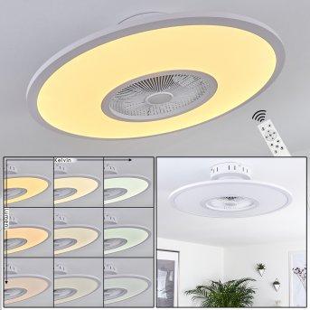 Ventilateur de plafond Marmorta LED Blanc, 1 lumière, Télécommandes
