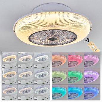 Ventilateur de plafond Riccione LED Blanc, 1 lumière, Télécommandes, Changeur de couleurs