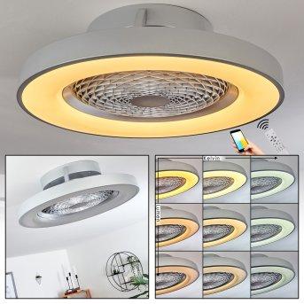 Ventilateur de plafond Penon LED Argenté, 1 lumière, Télécommandes