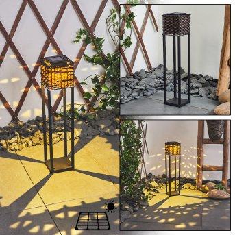 Lampe solaires Quarrata LED Noir, Brun, 1 lumière