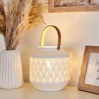 Lampe de table Forrnes Blanc, Beige, 1 lumière
