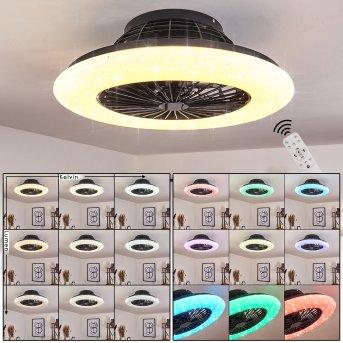 Ventilateur de plafond Pireaus LED Noir, 1 lumière, Télécommandes, Changeur de couleurs