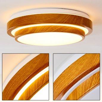 Plafonnier Sora Wood LED Blanc, Bois clair, 1 lumière