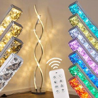 Lampadaire Assuan LED Chrome, 1 lumière, Télécommandes, Changeur de couleurs