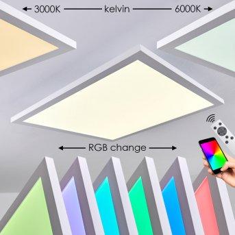 Plafonnier Bankura LED Blanc, 1 lumière, Télécommandes, Changeur de couleurs