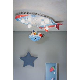 Plafonnier Elobra LUFTSCHIFF Bleu, Rouge, 4 lumières