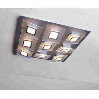 Plafonnier Bopp FRAME LED Aluminium, 9 lumières