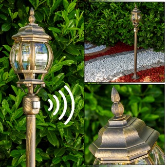 Lampadaire extérieur Lentua Brun doré, 1 lumière, Détecteur de mouvement