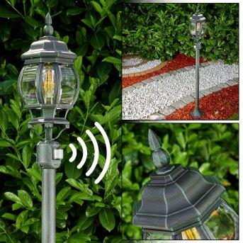 Lampadaire extérieur Lentua Noir, Vert, 1 lumière, Détecteur de mouvement