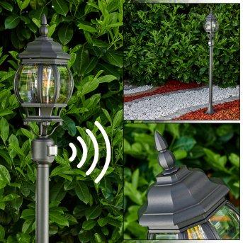 Lampadaire extérieur Lentua Noir, 1 lumière, Détecteur de mouvement