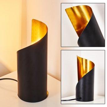 Lampe à poser Yahuma Noir doré, 1 lumière