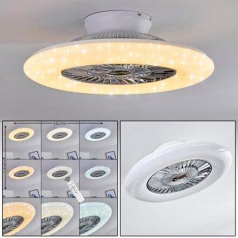 Ventilateur de plafond Petrovac LED Chrome, Blanc, 1 lumière, Télécommandes