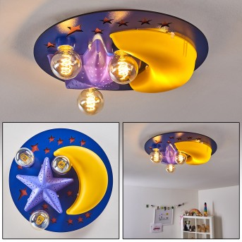 Plafonnier Fribourg Bleu, Jaune, 2 lumières