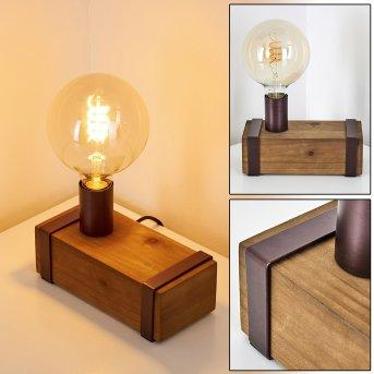 Lampe de table Balakovo Rouille, Bois foncé, 1 lumière