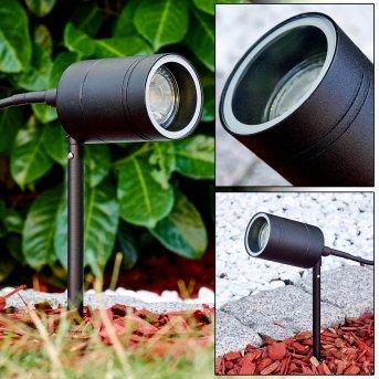 pique de terre Froslev LED Noir, 1 lumière