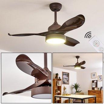 Ventilateur de plafond Doha LED Brun, 1 lumière, Télécommandes
