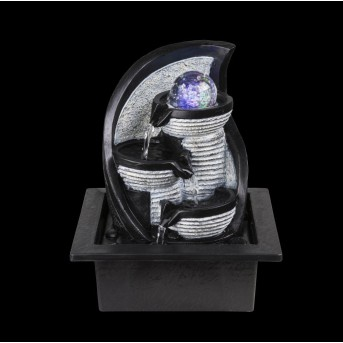 Fontaine Globo ALBERT LED Gris, 4 lumières, Changeur de couleurs
