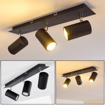 Plafonnier Zuoz Chrome, Noir, 3 lumières