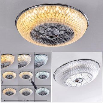 Ventilateur de plafond Sitges LED Chrome, 1 lumière, Télécommandes