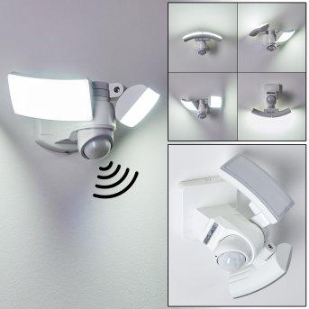 Applique murale d'extérieur Foroyar LED Blanc, 2 lumières, Détecteur de mouvement