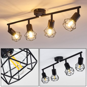 Plafonnier Baripada Noir, 4 lumières