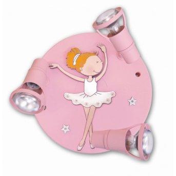 Plafonnier rond Waldi Ballerina Rose, 3 lumières