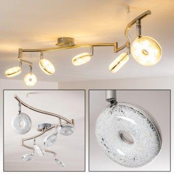 Plafonnier Donot LED Nickel mat, 6 lumières