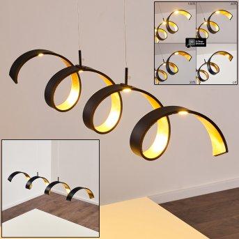 Suspension Rezat LED Noir doré, 1 lumière