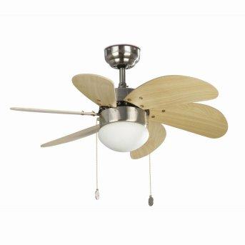 Ventilateur de plafond à lampe Faro Barcelona Palao Nickel mat, 1 lumière