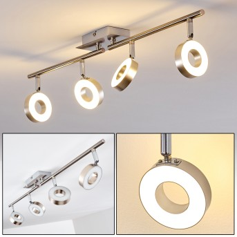 Spot de plafond Sarnia LED Nickel mat, Chrome, 4 lumières