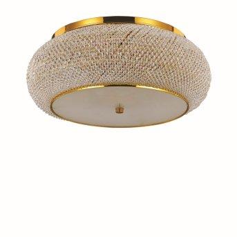Plafonnier Ideal Lux PASHA Or, Aspect cristal, 10 lumières