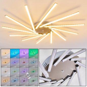 Plafonnier Kinna LED Acier inoxydable, 12 lumières, Télécommandes, Changeur de couleurs