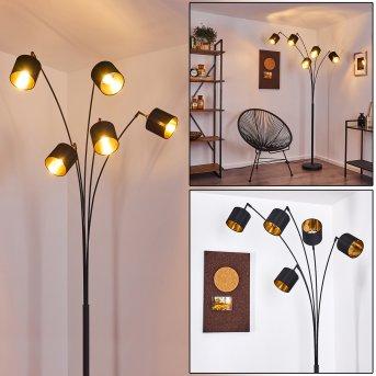 Lampadaire Alsen Noir, 5 lumières
